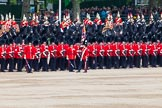 Major General's Review 2013: The Escort to the Colour troops the Colour past No. 5 Guard, F Company Scots Guards.. Horse Guards Parade, Westminster, London SW1,  United Kingdom, on 01 June 2013 at 11:24, image #428