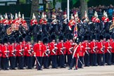 Major General's Review 2013: The Escort to the Colour troops the Colour past No. 5 Guard, F Company Scots Guards.. Horse Guards Parade, Westminster, London SW1,  United Kingdom, on 01 June 2013 at 11:24, image #429