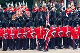 Major General's Review 2013: The Escort to the Colour troops the Colour past No. 5 Guard, F Company Scots Guards.. Horse Guards Parade, Westminster, London SW1,  United Kingdom, on 01 June 2013 at 11:24, image #430