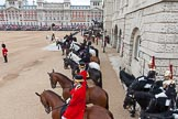 Major General's Review 2013: A wide-angle view over the Horse Guards Building side of the parade ground.Next to the dais members of the Royal Procession.. Horse Guards Parade, Westminster, London SW1,  United Kingdom, on 01 June 2013 at 11:25, image #433