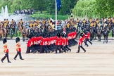 Major General's Review 2013: No. 1 Guard (Escort to the Colour),1st Battalion Welsh Guards, at the begin of the March Past.. Horse Guards Parade, Westminster, London SW1,  United Kingdom, on 01 June 2013 at 11:29, image #453