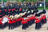 Major General's Review 2013: The Massed Bands, led by the five Drum Majors, during the March Past.. Horse Guards Parade, Westminster, London SW1,  United Kingdom, on 01 June 2013 at 11:30, image #458