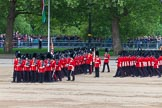 Major General's Review 2013: The March Past in Slow Time - Field Officer and Major of the Parade leading the six guards around Horse Guards Parade.. Horse Guards Parade, Westminster, London SW1,  United Kingdom, on 01 June 2013 at 11:30, image #462