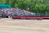Major General's Review 2013: The March Past in Slow Time - Field Officer and Major of the Parade leading the six guards around Horse Guards Parade.. Horse Guards Parade, Westminster, London SW1,  United Kingdom, on 01 June 2013 at 11:31, image #471