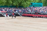 Major General's Review 2013: The March Past in Slow Time - Field Officer and Major of the Parade leading the six guards around Horse Guards Parade.. Horse Guards Parade, Westminster, London SW1,  United Kingdom, on 01 June 2013 at 11:32, image #473