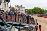 Major General's Review 2013: Wide angle view from the press stand, including spectators and photographers,  during the March Past.. Horse Guards Parade, Westminster, London SW1,  United Kingdom, on 01 June 2013 at 11:32, image #479