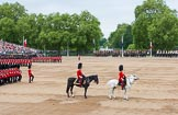 Major General's Review 2013: The Field Officer in Brigade Waiting, Lieutenant Colonel Dino Bossi, Welsh Guards, and the Major of the Parade, Major H G C Bettinson, Welsh Guards.. Horse Guards Parade, Westminster, London SW1,  United Kingdom, on 01 June 2013 at 11:33, image #486