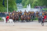 Major General's Review 2013: The March Past in Quick Time -the Field Officer in Brigade Waiting, Lieutenant Colonel Dino Bossi, Welsh Guards and the Major of the Parade, Major H G C Bettinson, Welsh Guards.. Horse Guards Parade, Westminster, London SW1,  United Kingdom, on 01 June 2013 at 11:40, image #526
