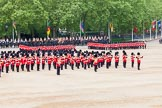 Major General's Review 2013: At the end of the March Past in Quick Time, all five guards on the northern side of Horse Guards Parade peform a ninety-degree-turn at the same time.. Horse Guards Parade, Westminster, London SW1,  United Kingdom, on 01 June 2013 at 11:47, image #558