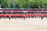 Major General's Review 2013: At the end of the March Past in Quick Time, all five guards on the northern side of Horse Guards Parade peform a ninety-degree-turn at the same time.. Horse Guards Parade, Westminster, London SW1,  United Kingdom, on 01 June 2013 at 11:47, image #559