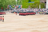 Major General's Review 2013: At the end of the March Past in Quick Time, guards peform a ninety-degree-turn at the same time.. Horse Guards Parade, Westminster, London SW1,  United Kingdom, on 01 June 2013 at 11:47, image #557