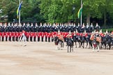 Major General's Review 2013: The Ride Past - the Mounted Bands of the Household Cavalry move, from the eastern side, onto Horse Guards Parade. The Director of Music of the Household Cavalry, Major Paul Wilman, The Life Guards followed by the kettle drummer from The Life Guards.. Horse Guards Parade, Westminster, London SW1,  United Kingdom, on 01 June 2013 at 11:50, image #579