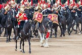 Major General's Review 2013: The Director of Music of the Household Cavalry, Major Paul Wilman, The Life Guards, during the Mounted Troops Ride Past. Behind him the kettle drummer from The Blues and Royals.. Horse Guards Parade, Westminster, London SW1,  United Kingdom, on 01 June 2013 at 11:50, image #581