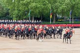 Major General's Review 2013: The Director of Music of the Household Cavalry, Major Paul Wilman, The Life Guards, during the Mounted Troops Ride Past. Behind him the kettle drummer from The Blues and Royals.. Horse Guards Parade, Westminster, London SW1,  United Kingdom, on 01 June 2013 at 11:51, image #583