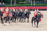 Major General's Review 2013: The Director of Music of the Household Cavalry, Major Paul Wilman, The Life Guards, during the Mounted Troops Ride Past. Behind him the kettle drummer from The Blues and Royals.. Horse Guards Parade, Westminster, London SW1,  United Kingdom, on 01 June 2013 at 11:51, image #584