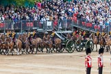 Major General's Review 2013: The Ride Past - the King's Troop Royal Horse Artillery. Six horses are pulling a WWI 13-pounder field gun.. Horse Guards Parade, Westminster, London SW1,  United Kingdom, on 01 June 2013 at 11:51, image #585
