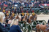 Major General's Review 2013: The Ride Past - the King's Troop Royal Horse Artillery. Six horses are pulling a WWI 13-pounder field gun.. Horse Guards Parade, Westminster, London SW1,  United Kingdom, on 01 June 2013 at 11:52, image #599
