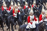 Major General's Review 2013: The First and Second Divisions of the Sovereign's Escort, The Life Guards, during the Ride Past.. Horse Guards Parade, Westminster, London SW1,  United Kingdom, on 01 June 2013 at 11:53, image #620