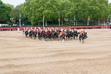 Major General's Review 2013: The Director of Music of the Household Cavalry, Major Paul Wilman, The Life Guards, during the Mounted Troops Ride Past. Behind him the kettle drummer from The Blues and Royals.. Horse Guards Parade, Westminster, London SW1,  United Kingdom, on 01 June 2013 at 11:51, image #588