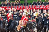 Major General's Review 2013: The Mounted Bands of the Household Cavalry during the Ride Past, with the kettle drummer from The Life Guards.. Horse Guards Parade, Westminster, London SW1,  United Kingdom, on 01 June 2013 at 11:54, image #635