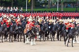 Major General's Review 2013: The Mounted Bands of the Household Cavalry during the Ride Past. The Director of Music of the Household Cavalry, Major Paul Wilman, The Life Guards.. Horse Guards Parade, Westminster, London SW1,  United Kingdom, on 01 June 2013 at 11:55, image #640