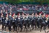 Major General's Review 2013: The Third and Forth Divisions of the Sovereign's Escort, The Blues and Royals, during the Ride Past.. Horse Guards Parade, Westminster, London SW1,  United Kingdom, on 01 June 2013 at 11:57, image #653