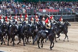 Major General's Review 2013: The Third and Forth Divisions of the Sovereign's Escort, The Blues and Royals, during the Ride Past.. Horse Guards Parade, Westminster, London SW1,  United Kingdom, on 01 June 2013 at 11:57, image #655
