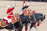 Major General's Review 2013: The two kettle drummers, about to salute Her Majesty, as the Mounted Bands are about to march off.. Horse Guards Parade, Westminster, London SW1,  United Kingdom, on 01 June 2013 at 11:58, image #661