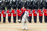 Major General's Review 2013: The Field Officer in Brigade Waiting, Lieutenant Colonel Dino Bossi, Welsh Guards, giving orders after the Ride Past.. Horse Guards Parade, Westminster, London SW1,  United Kingdom, on 01 June 2013 at 12:00, image #672