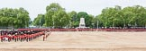 Major General's Review 2013: A wide angle overview of Horse Guards Parade after the Ride Past. The Household Cavalry is returning to their initial positions below the flags, next to St James's Park.. Horse Guards Parade, Westminster, London SW1,  United Kingdom, on 01 June 2013 at 11:58, image #667