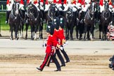 Major General's Review 2013: The six guards divisions have changed direction. Behind them, the Household Cavalry is leaving their position to march off.. Horse Guards Parade, Westminster, London SW1,  United Kingdom, on 01 June 2013 at 12:03, image #682