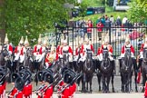 Major General's Review 2013: The six guards divisions have changed direction. Behind them, the Household Cavalry is leaving their position to march off.. Horse Guards Parade, Westminster, London SW1,  United Kingdom, on 01 June 2013 at 12:03, image #684