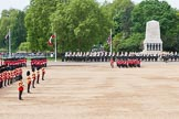 Major General's Review 2013: The six guards divisions have changed direction. Behind them, the Household Cavalry is leaving their position to march off.. Horse Guards Parade, Westminster, London SW1,  United Kingdom, on 01 June 2013 at 12:02, image #681