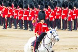 Major General's Review 2013: The Field Officer in Brigade Waiting, Lieutenant Colonel Dino Bossi, Welsh Guards, rides towards the dais to ask HM The Queen's permission to march off.. Horse Guards Parade, Westminster, London SW1,  United Kingdom, on 01 June 2013 at 12:04, image #695