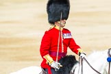 Major General's Review 2013: The Field Officer in Brigade Waiting, Lieutenant Colonel Dino Bossi, Welsh Guards, rides towards the dais to ask HM The Queen's permission to march off.. Horse Guards Parade, Westminster, London SW1,  United Kingdom, on 01 June 2013 at 12:05, image #697