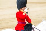 Major General's Review 2013: The Field Officer in Brigade Waiting, Lieutenant Colonel Dino Bossi, Welsh Guards, rides towards the dais to ask HM The Queen's permission to march off.. Horse Guards Parade, Westminster, London SW1,  United Kingdom, on 01 June 2013 at 12:05, image #699