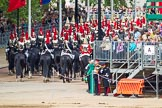 Major General's Review 2013: The Household Cavalry is marching off, The Life Guards, and behind them The Blues and Royals, on the way to The Mall.. Horse Guards Parade, Westminster, London SW1,  United Kingdom, on 01 June 2013 at 12:05, image #704