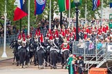 Major General's Review 2013: The Household Cavalry is marching off, The Life Guards, and behind them The Blues and Royals, on the way to The Mall.. Horse Guards Parade, Westminster, London SW1,  United Kingdom, on 01 June 2013 at 12:05, image #705