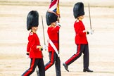 Major General's Review 2013: No. 1 Guard (Escort for the Colour),1st Battalion Welsh Guards, during the March Off. Ensign, Second Lieutenant Joel Dinwiddle, carrying the Colour. On his right Major E N Launders, on his left Captain F O Lloyd-George.. Horse Guards Parade, Westminster, London SW1,  United Kingdom, on 01 June 2013 at 12:08, image #714