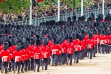 Major General's Review 2013: The March Off - lines of scarlet and black as the guardsmen, with their bearskins, are marching up Horse Guards Road towards The Mall.. Horse Guards Parade, Westminster, London SW1,  United Kingdom, on 01 June 2013 at 12:10, image #731