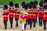 Trooping the Colour 2013: The Band of the Coldstream Guards, led by Senior Drum Major Matthew Betts, Grenadier Guards, marching onto Horse Guards Parade.. Horse Guards Parade, Westminster, London SW1,  United Kingdom, on 15 June 2013 at 10:12, image #45