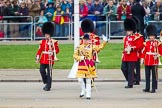 Trooping the Colour 2013: Drum Major Stephen Staite, Grenadier Guards, leading the third of the guards bands, the Band of the Scots Guards, onto Horse Guards Parade.. Horse Guards Parade, Westminster, London SW1,  United Kingdom, on 15 June 2013 at 10:23, image #78