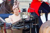 Trooping the Colour 2013: HRH The Countess of Wessex in the third barouche carriage on the way across Horse Guards Parade to watch the parade from the Major General's office.. Horse Guards Parade, Westminster, London SW1,  United Kingdom, on 15 June 2013 at 10:50, image #199