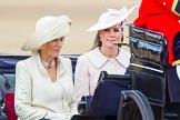 Trooping the Colour 2013: HRH The Duchess of Cornwall  and HRH The Duchess of Cambridge in the first barouche carriage on the way across Horse Guards Parade to watch the parade from the Major General's office.. Horse Guards Parade, Westminster, London SW1,  United Kingdom, on 15 June 2013 at 10:50, image #201