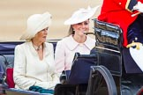 Trooping the Colour 2013: HRH The Duchess of Cornwall  and HRH The Duchess of Cambridge in the first barouche carriage on the way across Horse Guards Parade to watch the parade from the Major General's office.. Horse Guards Parade, Westminster, London SW1,  United Kingdom, on 15 June 2013 at 10:50, image #202