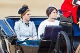 Trooping the Colour 2013: HRH Princess Beatrice of York and HRH Princess Eugenie of York in the second barouche carriage on the way across Horse Guards Parade to watch the parade from the Major General's office.. Horse Guards Parade, Westminster, London SW1,  United Kingdom, on 15 June 2013 at 10:50, image #206