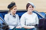 Trooping the Colour 2013: HRH Princess Beatrice of York and HRH Princess Eugenie of York in the second barouche carriage on the way across Horse Guards Parade to watch the parade from the Major General's office.. Horse Guards Parade, Westminster, London SW1,  United Kingdom, on 15 June 2013 at 10:50, image #210