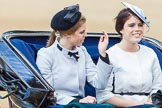Trooping the Colour 2013: HRH Princess Beatrice of York and HRH Princess Eugenie of York in the second barouche carriage on the way across Horse Guards Parade to watch the parade from the Major General's office.. Horse Guards Parade, Westminster, London SW1,  United Kingdom, on 15 June 2013 at 10:50, image #211