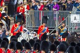 Trooping the Colour 2013: The Royal Colonels following HM The Queen in the Royal Procession, HRH The Duke of Cambridge, HRH The Prince of Wales, and HRH The Princess Royal.. Horse Guards Parade, Westminster, London SW1,  United Kingdom, on 15 June 2013 at 10:58, image #260