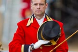 Trooping the Colour 2013: Mark Hargreaves, Head Coachman, during the National Anthem.. Horse Guards Parade, Westminster, London SW1,  United Kingdom, on 15 June 2013 at 11:01, image #298